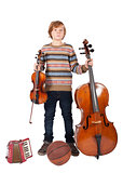 boy with music instruments