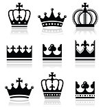 Crown, royal family icons set