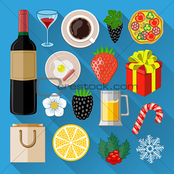 Food and drinks icons set. Flat design