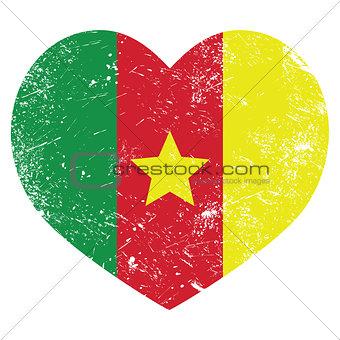 Cameroon retro heart shaped flag