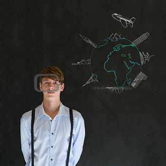 Business travel agent chalk airplane world globe with famous landmarks on blackboard background