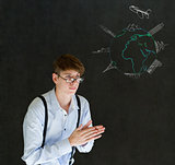 Business travel agent chalk airplane world globe with famous landmarks on blackboard background