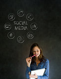 Business woman or teacher with social media icons chalk blackboard background