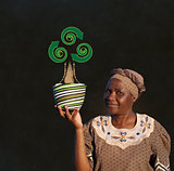 South African Zulu woman basket sales woman blackboard recycle tree