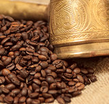 Arabic copper turks and  scattered coffee grains