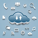 Cloud and communication and network flat design