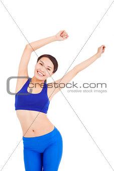 asian pretty woman make a waving arms pose