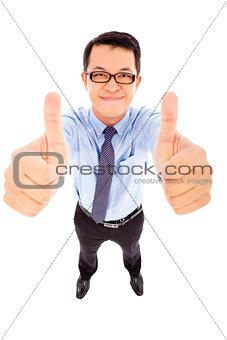 closeup businessman facial expression and thumb up