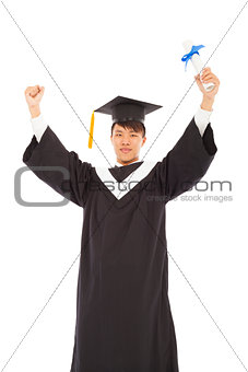 asian happy graduating student raise hand with diploma