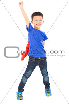 asian happy superhero kid hero raise hand