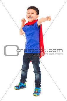 smiling  superhero kid make a fist pose