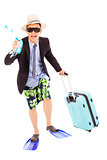 funny businessman holding scuba gearing and baggage