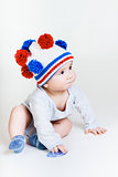 cute baby in a knitted hat