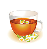 Cup of hot herbal camomile