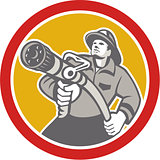 Fireman Firefighter Aiming Fire Hose Circle
