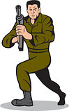 Soldier Aiming Sub-Machine Gun Cartoon