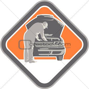Automotive Mechanic Car Repair Woodcut