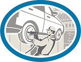 Mechanic Changing Car Tire Repair Retro