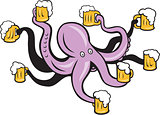 Octopus Holding Mug of Beer Tentacles