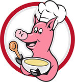 Pig Chef Cook Holding Bowl Cartoon