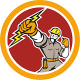 Electrician Wielding Lightning Bolt Circle Retro