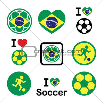 Brazilian flag, football or soccer ball icons set
