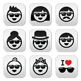 People wearing sunglasses, holidays icons set