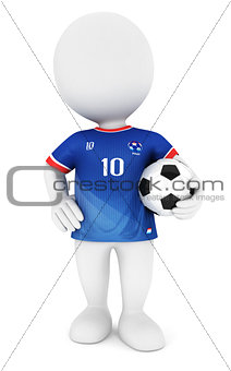 3d white people soccer player with blue jersey