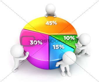 3d white people team pie chart
