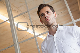 Casual businessman standing with serious expression