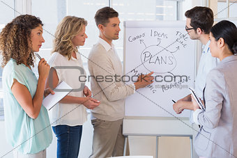 Casual businesswoman team listening to presentation