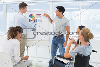 Casual businessmen giving presentation to colleagues
