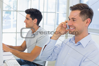 Casual businessman talking on the phone