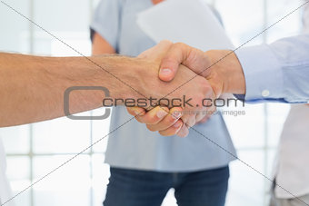 Casual businessmen shaking hands