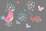 Pink bird with heart and dandelions