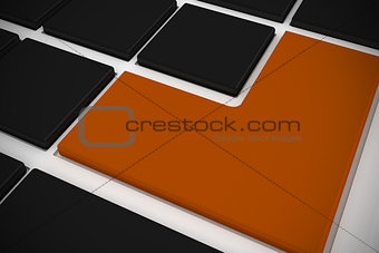Black keyboard with orange key