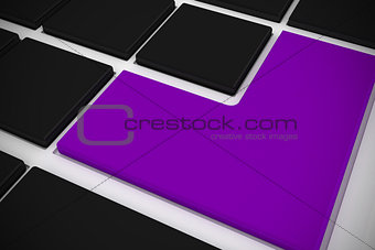 Black keyboard with purple key