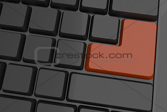 Black keyboard with brown key