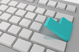 White keyboard with blue key