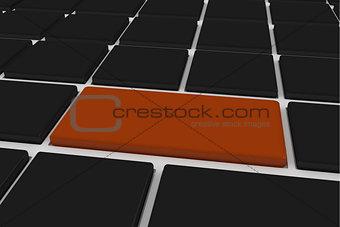 Black keyboard with brown key