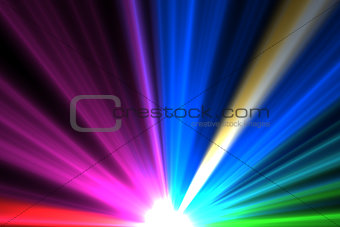 Bright colourful laser beams shining