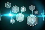 Medical icons in hexagons interface menu