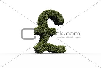Pound sterling sign made of leaves