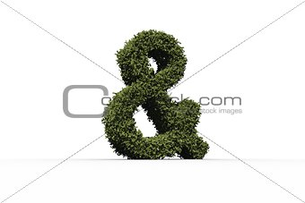 Ampersand sign made of leaves