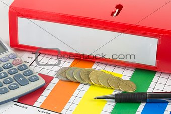 Business binder with coins