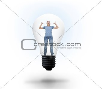 Angry woman in light bulb