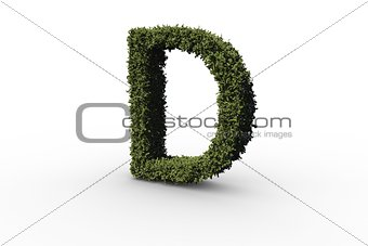 Capital letter d made of leaves