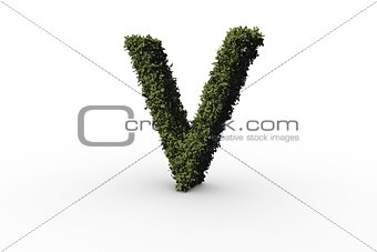 Capital letter v made of leaves