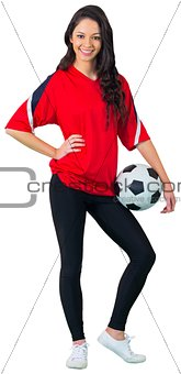 Pretty football fan in red
