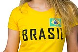 Football fan in brasil tshirt